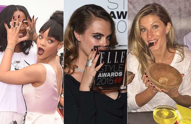 O vinho ganhou as unhas de Rihanna, Cara Delevingne e Gisele Bündchen