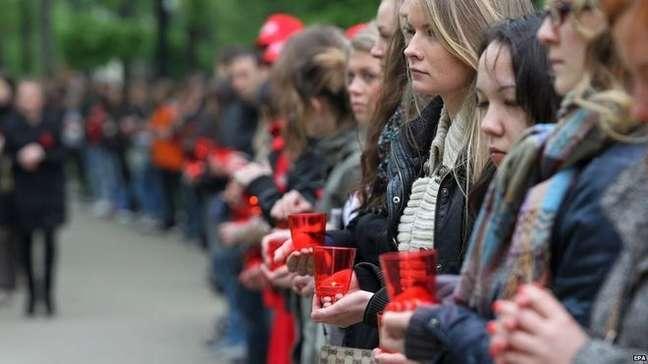Vigília em 2011 em Moscou para o Dia Mundial de Luta contra a Aids