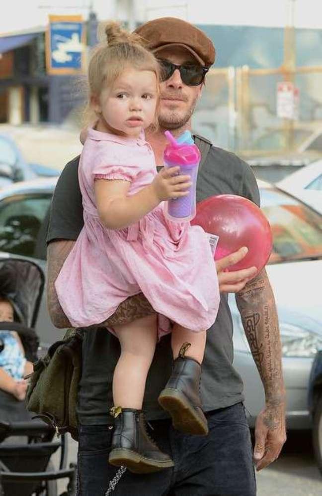 David Beckham foi flagrado recentemente passeando com a filha em Nova York
