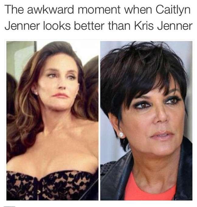 """""""Aquele momento estranho quando Caitlyn Jenner está mais bonita que Kris Jenner"""""""