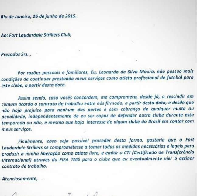 Léo Moura mandou carta ao Strikers para pedir desligamento do clube