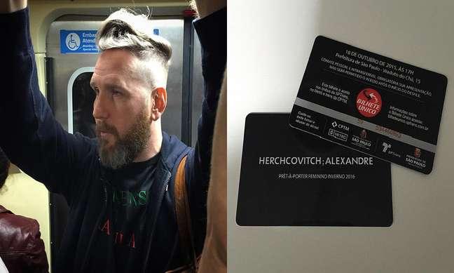 O estilista Alexandre Herchcovitch usa metrô, neste domingo (18), para ir ao seu desfile do SPFW Inverno 2016
