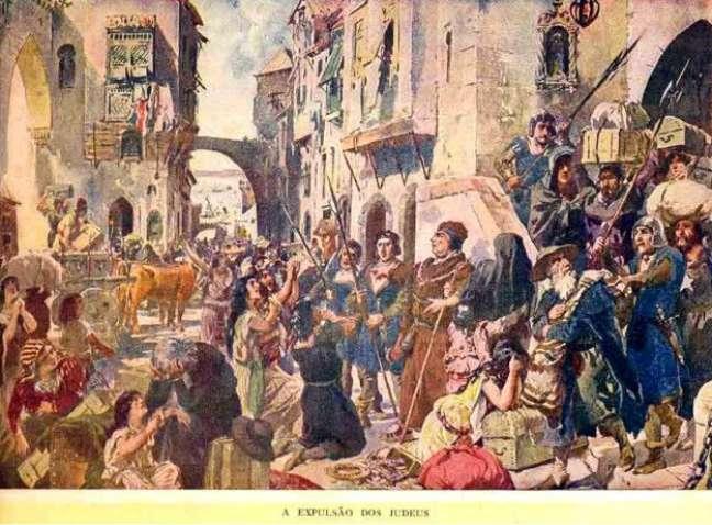 A aquarela 'A Expulsão dos Judeus', do artista português Roque Gameiro, retrata a história da Inquisição em Portugal