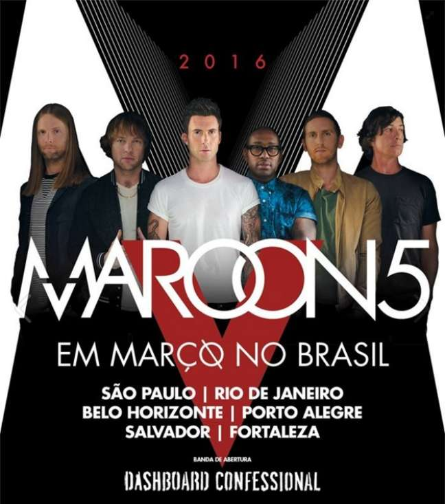 O grupo californiano aterrissa no Brasil em março, onde fará seis apresentações para divulgar o lançamento do novo álbum, V, que inclui sucessos como Sugar e Maps