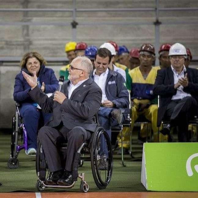 Phillip Craven, residente do Comitê Paralímpico Internacional (IPC), durante evento na Arena do Futuro, no Parque Olímpico do Rio