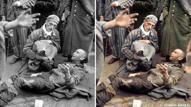 Prisioneiros são libertados do campo de concentração de Wöbbelin, em abril de 1945 (Foto original: Arquivo Nacional dos EUA)