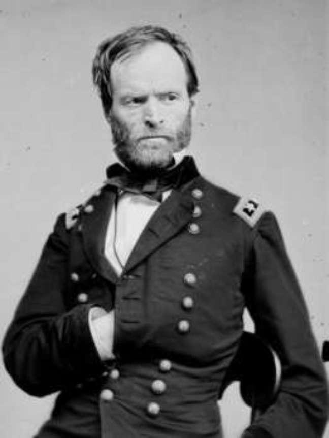 Retrato do general americano William T. Sherman