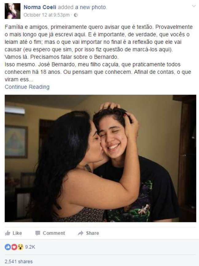 Post foi removido após denúncia e, após contato da BBC Brasil, voltou ao ar