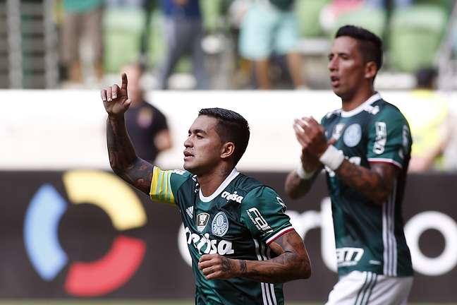 Dudu comemora o gol que marcou contra o Sport, no Allianz Parque