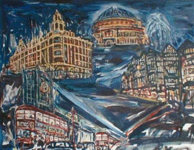 Londres à noite (tela de Ronald Tucker)