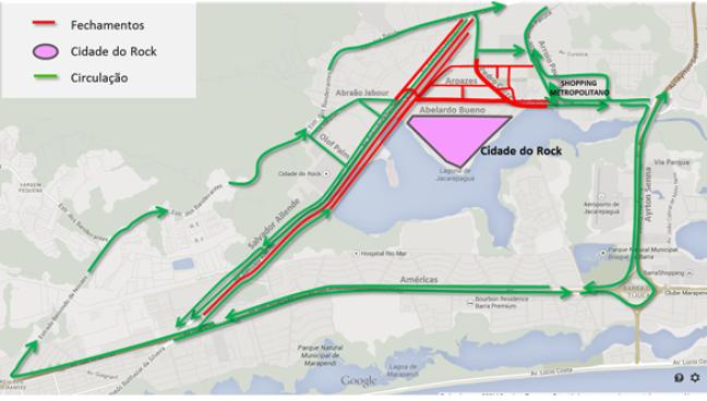 Mapa mostra esquema de trânsito para o segundo fim de semana do Rock in Rio