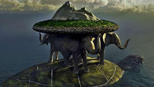 Quatro elefantes carregam o 'disco' do mundo e navegam sobre uma tartaruga
