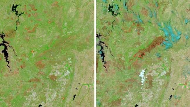 Imagens captadas por satélite da Nasa mostram antes e depois dos incêndios na Chapada dos Veadeiros | Foto: Nasa