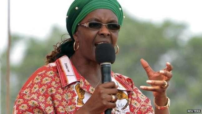 Grace Mugabe em comício de 2014