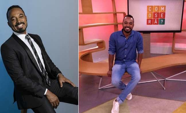 O apresentador em ensaio fotográfico e no cenário do 'Como Será?': visibilidade valiosa na emissora líder