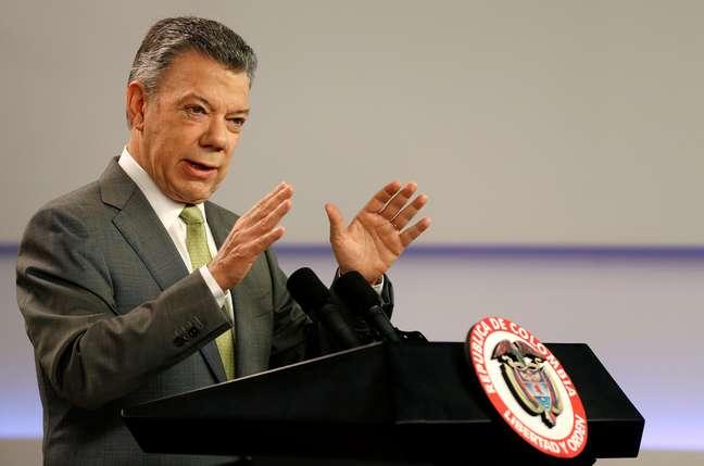 Juan Manuel Santos faz discurso em Bogotá  27/10/2017    REUTERS/Jaime Saldarriaga