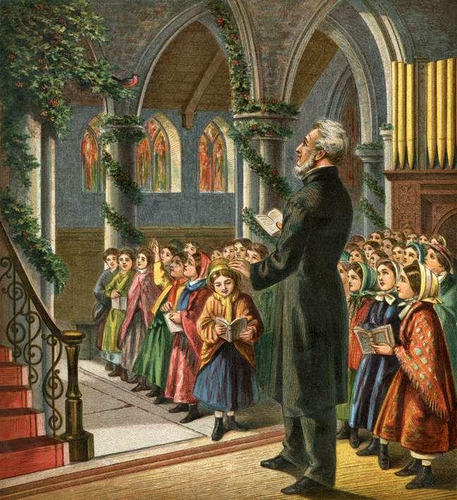 Corais de Natal eram originalmente músicas para comemorar colheitas ou a metade do verão, até serem incorporados pelos religiosos   Foto: Whitemay
