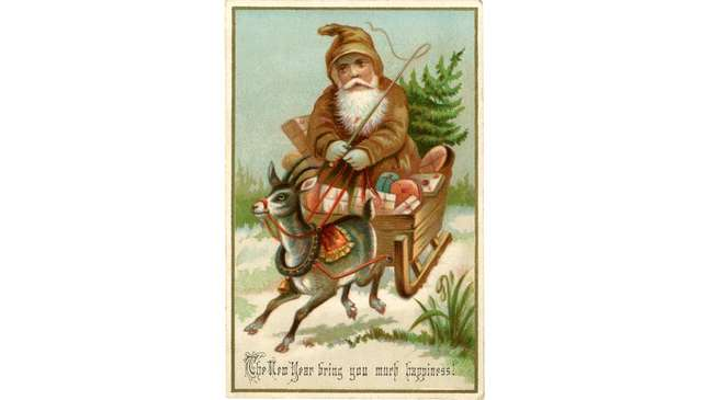 Imagem do Papai Noel como a conhecemos hoje foi popularizada por fabricantes de cartões natalinos na Era Vitoriana   Fonte: Getty Images