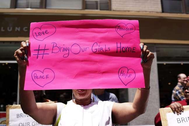 Protesto contra sequestro de 276 garotas em junho de 2014