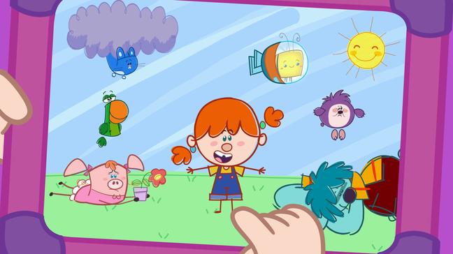 Detalhe do tablet no qual a personagem Mika cria suas histórias