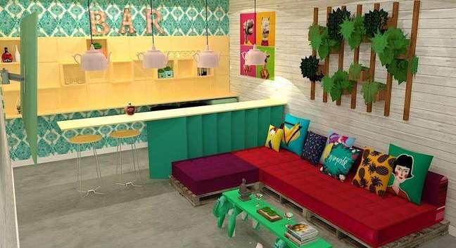 21. Projeto para uma sala de televisão usando pallets
