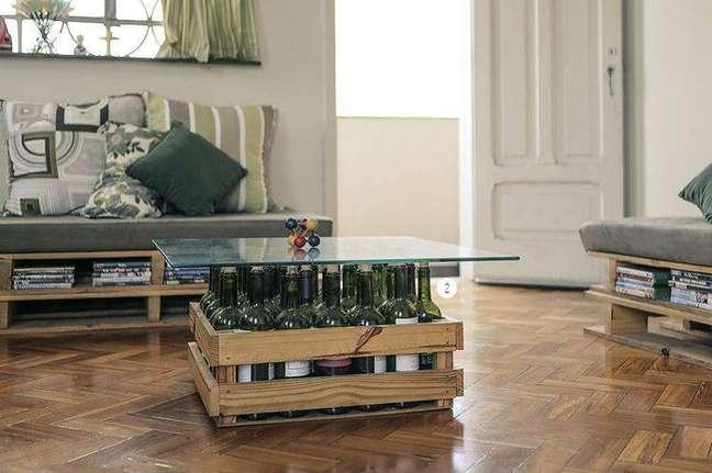 17. Conjunto de sofás de pallets para a decoração de sala