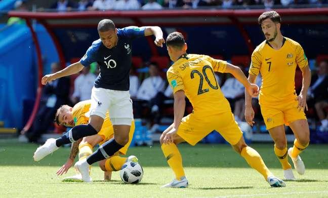 Mbappé em ação contra a Austrália