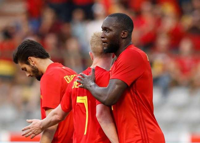 Lukaku comemora gol da Bélgica em amistoso contra o Egito vencido por 3 a 0