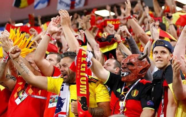 Torcida da Bélgica em jogo contra Inglaterra   28/6/2018    REUTERS/Fabrizio Bensch