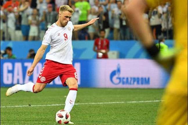 Nicolai Jorgensen perdeu o último pênalti da Dinamarca contra Croácia, nas oitavas de final da Copa do Mundo (AFP)