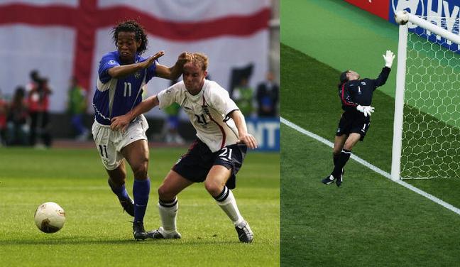 Brasil eliminou a Inglaterra nas quartas da Copa de 2002, com golaço de Ronaldinho Gaúcho de falta