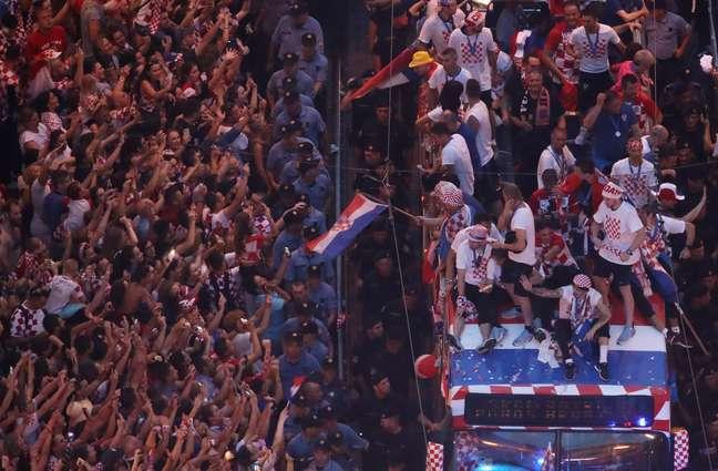 Recepção em Zagreb para a seleção da Croácia, após o vice-campeonato mundial na Copa do Mundo da Rússia