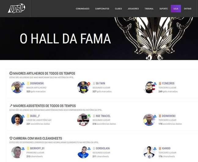 Hall da Fama da VPSLeague brasileira