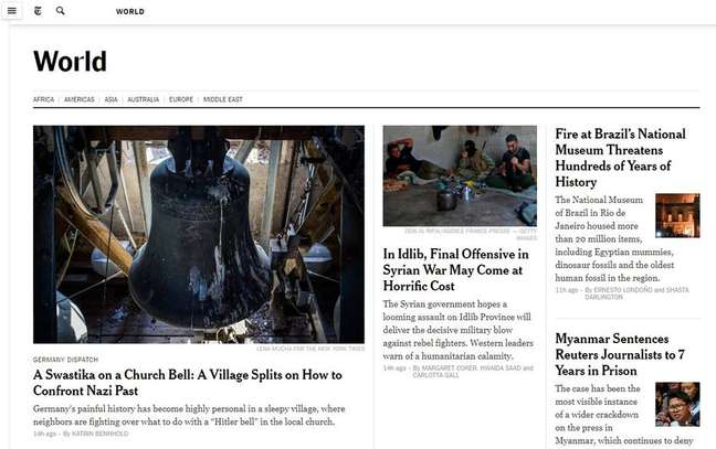 Incêndio no Museu Nacional no Rio de Janeiro é destaque no NYT
