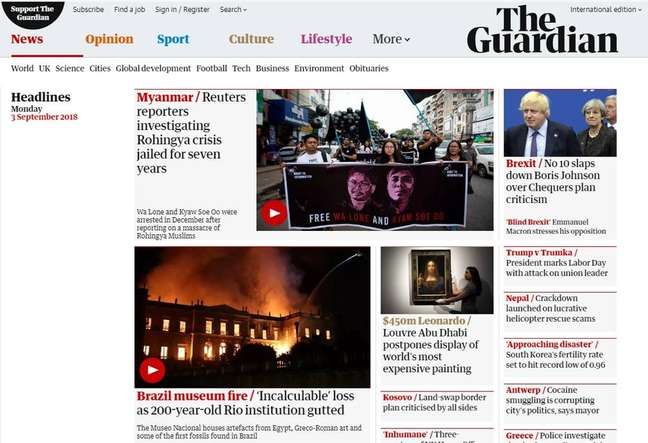 Jornal britânico The Guardian destaca destruição de peças no incêndio do Museu Nacional