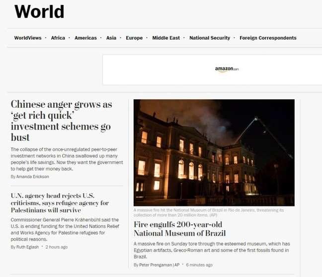 O americano W.Post também destacou a tragédia no Rio de Janeiro