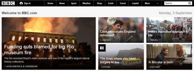 Site britânico destaca em sua manchete a notícia do incêndio no Museu Nacional no Rio de Janeiro