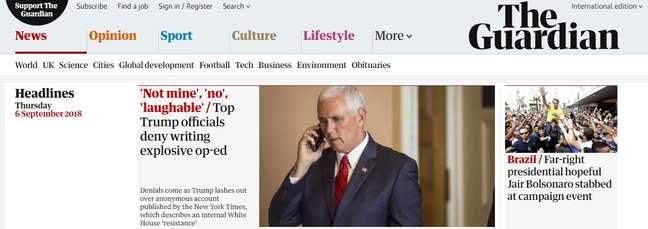 Jornal The Guardian noticiou ataque ao presidenciável
