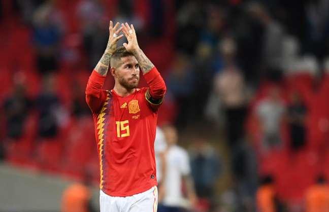 Sergio Ramos, zagueiro espanhol, em jogo contra a Inglaterra, no Wembley