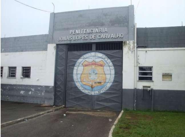 Entrada de veículos da Penitenciária Jonas Lopes de Carvalho