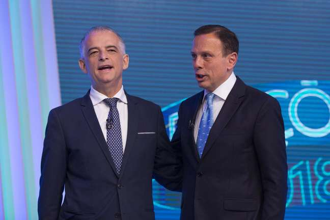 Márcio França e João Doria antes do debate da Globo