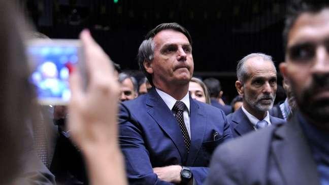 Jair Bolsonaro no plenário da Câmara, em 2016