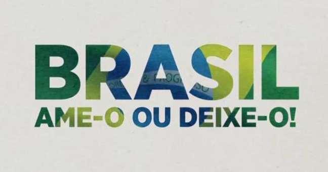 Slogan'Brasil, ame-o ou deixe-o', utilizado durante ditadura militar, foi retirado do ar pelo SBT.