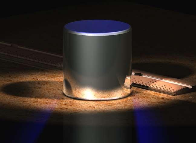 Imagem criada por computador mostra protótipo utilizado para calcular 1 kg