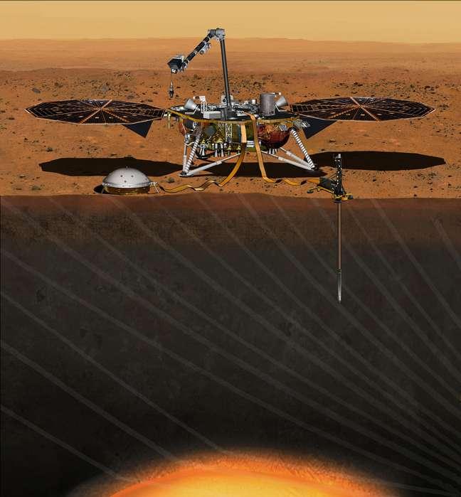 Sonda InSight, da Nasa, em ilustração Reuters/Nasa/JPL-Caltech/Divulgação via Reuters