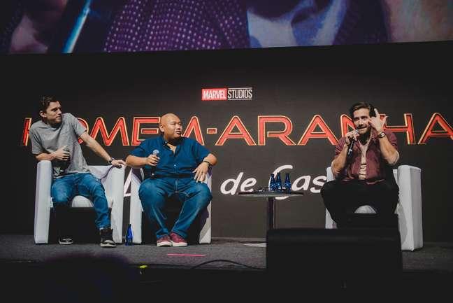 Tom foi acompanhado por Jacob Batalon e Jake Gyllenhaal - os três estão juntos em Homem-Aranha: Longe de Casa