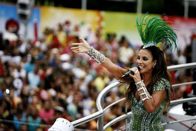 A cantora Ivete Sangalo no Circuito Osmar no Campo Grande, em Salvador