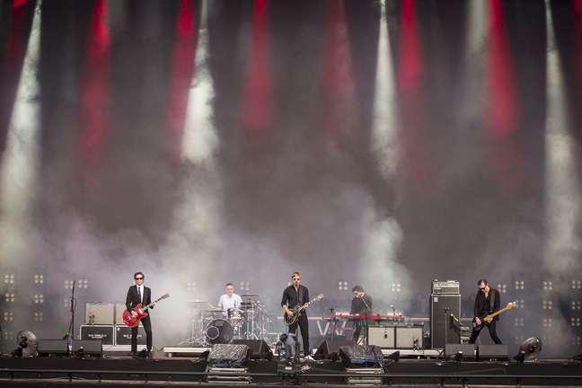 Show do Interpol no festival Lollapalooza 2019, no Autódromo de Interlagos, Zona Sul de São Paulo (SP), neste domingo (7).