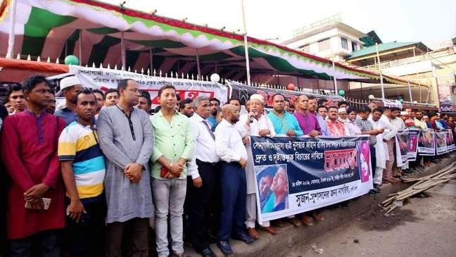 Muitas pessoas protestaram na cidade natal de Rafi