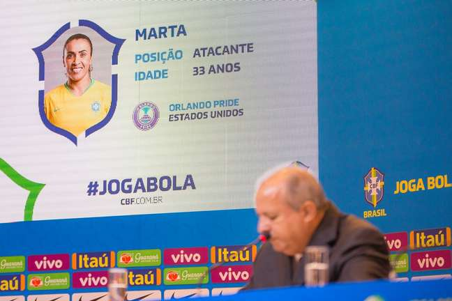 O técnico Vadão em frente ao anúncio da convocação da atacante Marta